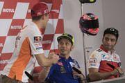 Cal  Marc Marquez of Spain and Repsol Honda Team (L) greets Valentino Rossi of Italy and Movistar Yamaha MotoGP  during the press conference pre-event during the MotoGp of Argentina - Previews on April 5, 2018 in Rio Hondo, Argentina.