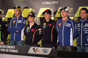 (L-R) Cal Crutchlow of Great Britain and Monster Yamaha Tech 3,  Valentino Rossi of Italy and Yamaha Factory Racing, Dani Pedrosa of Spain and Repsol Honda Team, Marc Marquez of Spain and Repsol Honda Team, Jorge Lorenzo of Spain and Yamaha Factory Racing and Randy De Puniet of France and Power Electronics Aspar pose during the press conference pre-event during the MotoGp Of France - Previews on May 16, 2013 in Le Mans, France.