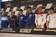 (L-R) Aleix Espargaro of Spain and Team Suzuki MotoGP, Marc Marquez of Spain and Repsol Honda Team, Jorge Lorenzo of Spain and Movistar Yamaha MotoGP;  Valentino Rossi of Italy and Movistar Yamaha MotoGP; Andrea Iannone of Italy and Ducati Team and Cal Crutchlow of Great Britain and CWM LCR Honda pose during the press conference pre-event during the MotoGp of Germany - Previews at Sachsenring Circuit on July 9, 2015 in Hohenstein-Ernstthal, Germany.