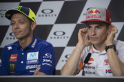 Marc Marquez of Spain and Repsol Honda Team  and Valentino Rossi of Italy and Movistar Yamaha MotoGP (L) look on during the press conference pre-event during the MotoGp of Italy - Previews at Mugello Circuit on May 31, 2018 in Scarperia, Italy.