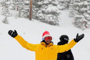 Professional snowboarder Danny Davis (C) enjoys the snow with the media before first tracks during the Dew Tour Kick Off Media Event on December 9, 2016 in Breckenridge, Colorado.