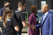 Congressman John Lewis visits with MoveOn members before members begin canvassing for Colin Allred on October 27, 2018 in Richardson, Texas.