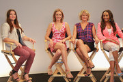 (L-R) Host Camille Ford, actresses Kristanna Loken, Zoe Bell and Vivica A. Fod attend Movies On Demand 'Mercenaries' Interviews during Comic-Con 2014 at Hard Rock Hotel San Diego on July 25, 2014 in San Diego, California.