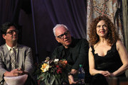 """(L-R) Executive producer Roman Coppola, actors Malcolm McDowell and Bernadette Peters attend the """"Mozart In The Jungle"""" Emmy FYC screening event at Hollywood Roosevelt Hotel on April 21, 2016 in Hollywood, California."""