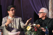 """Executive producer Roman Coppola and actor Malcolm McDowell attend the """"Mozart In The Jungle"""" Emmy FYC screening event at Hollywood Roosevelt Hotel on April 21, 2016 in Hollywood, California."""