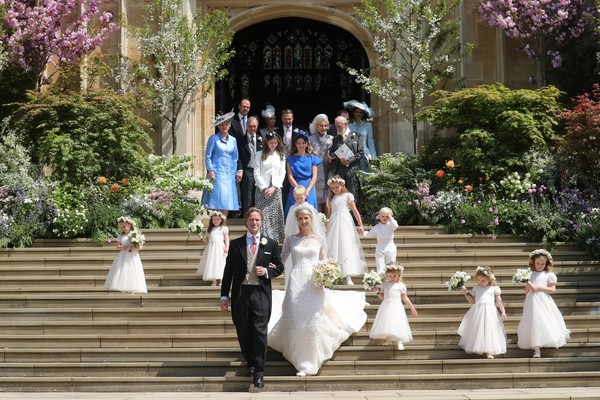 The Wedding Of Lady Gabriella Windsor And Mr. Thomas Kingston [photograph,ceremony,bride,dress,event,wedding dress,wedding,tradition,gown,bridal clothing,gabriella windsor,thomas kingston,bridesmaids,page boys,newlyweds,steps,chapel,st georges chapel,windsor,wedding]