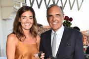 Elisa Sednaoui and Director of the festival Alberto Barbera attend the 'All About Mujeres' Cocktail Party at the 76th Venice Film Festival on the Hotel Danieli Terrace on August 27, 2019 in Venice, Italy.
