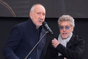 (L-R) Pete Townshend and Roger Daltrey from The Who attend the Music Walk Of Fame Founding Stone Unveiling at The Jazz Cafe on November 19, 2019 in London, England.