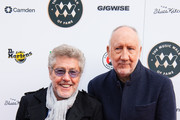 (L-R) Roger Daltrey and Pete Townshend from The Who attend the Music Walk Of Fame Founding Stone Unveiling at The Jazz Cafe on November 19, 2019 in London, England.
