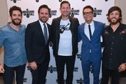 (L-R) Recording Artists Thomas Rhett and Charles Esten, Musicians on Call President, Pete Griffin, Radio Host Bobby Bones and Recording Artist Chris Janson arrive at CMA Theater at the Country Music Hall of Fame and Museum on October 10, 2018 in Nashville, Tennessee.