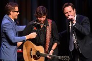(L-R) Radio Host Bobby Bones, Recording Artist Chris Janson and Recroding Artist and Actor Charles Esten at award ceremony at CMA Theater at the Country Music Hall of Fame and Museum on October 10, 2018 in Nashville, Tennessee.