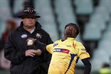 Muttiah Muralitharan Chennai Super Kings v Central Stags - 2010 Champions League Twenty20