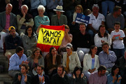 Fans show their support for Rafael Nadal of Spain in his match against Stan Wawrinka of Switzerland during day seven of the Mutua Madrid Open at La Caja Magica on May 10, 2019 in Madrid, Spain.