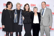 "(L-R) Manhattan Theatre Club Artistic Director Lynne Meadow, writer Elizabeth Strout, actress Laura Linney, playwright Rona Munro, and London Theatre Company CEO and  co-founder Nick Starr attend an after party on the opening night of ""My Name Is Lucy Barton"" at The Copacabana Times Square on January 15, 2020 in New York City."