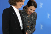 """(L-R) Sigourney Weaver and Margaret Qualley arrive for the """"My Salinger Year"""" photo call during the 70th Berlinale International Film Festival Berlin at Grand Hyatt Hotel on February 20, 2020 in Berlin, Germany."""