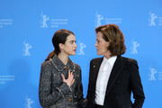 """(L-R) Margaret Qualley and Sigourney Weaver pose at the """"My Salinger Year"""" photo call during the 70th Berlinale International Film Festival Berlin at Grand Hyatt Hotel on February 20, 2020 in Berlin, Germany."""
