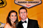 NASCAR driver Carl Edwards and his wife Kate arrive at the NASCAR Sprint Cup Series awards banquet at the Wynn Las Vegas Hotel on December 3, 2010 in Las Vegas, Nevada.