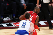 Kobe Bryant #24 of the Los Angeles Lakers and the Western Conference handles the ball against Pau Gasol #16 of the Chicago Bulls and the Eastern Conference in the second half during the NBA All-Star Game 2016 at the Air Canada Centre on February 14, 2016 in Toronto, Ontario. NOTE TO USER: User expressly acknowledges and agrees that, by downloading and/or using this Photograph, user is consenting to the terms and conditions of the Getty Images License Agreement.