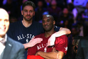 Pau Gasol #16 of the Chicago Bulls and the Eastern Conference and Kobe Bryant #24 of the Los Angeles Lakers and the Western Conference look on late in the game during the NBA All-Star Game 2016 at the Air Canada Centre on February 14, 2016 in Toronto, Ontario. NOTE TO USER: User expressly acknowledges and agrees that, by downloading and/or using this Photograph, user is consenting to the terms and conditions of the Getty Images License Agreement.