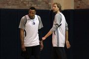 Dirk Nowitzki (R) and Shawn Marion of the Dallas Mavericks stand on the court during a practice session prior to Game 3 of the 2011 NBA Finals at the American Airlines Center on June 4, 2011 in Dallas, Texas. NOTE TO USER: User expressly acknowledges and agrees that, by downloading and or using this photograph, User is consenting to the terms and conditions of the Getty Images License Agreement.