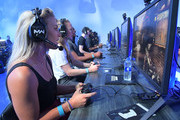 Women's soccer stars Julie Ertz and Becky Sauerbrunn play the new the Call of Duty: Modern Warfare multiplayer mode in Los Angeles, CA on August 1, 2019.