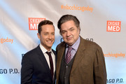 Actors Jesse Lee Soffer (L) and Oliver Platt attend a premiere party for NBC's 'Chicago Fire', 'Chicago P.D.' and 'Chicago Med' at STK Chicago on November 9, 2015 in Chicago, Illinois.