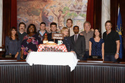 Actors Rashida Jones, Nick Offerman, Marietta Sirleaf, Michael Schur, Amy Poehler, Chris Pratt, Aziz Ansari, Jim O'Heir, Aubrey Plaza and Rob Lowe attend the NBC 'Parks And Recreation' 100th Episode Celebration at CBS Studios - Radford on October 16, 2013 in Studio City, California.