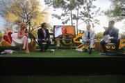(L-R) Olympic gold medalist Tara Lipinski, Golf Channel analyst David Feherty, NBC Olympics Executive Producer Jim Bell, NBC Olympics CMO John Miller and NBC SportsÕ Rob Simmelkjaer speak at the exclusive Olympic Panel Discussion And Happy Hour At The NBC Sports Lawn At SXSW on March 11, 2016 in Austin, Texas.