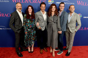 """(L-R) Co-Creator/executive producer David Kohan, actors Megan Mullally, Eric McCormack, Debra Messing, Sean Hayes and Co-creator/executive producer Max Mutchnick arrive at NBC's """"Will & Grace"""" FYC Event at the Harmony Gold Theatre on June 9, 2018 in Los Angeles, California."""