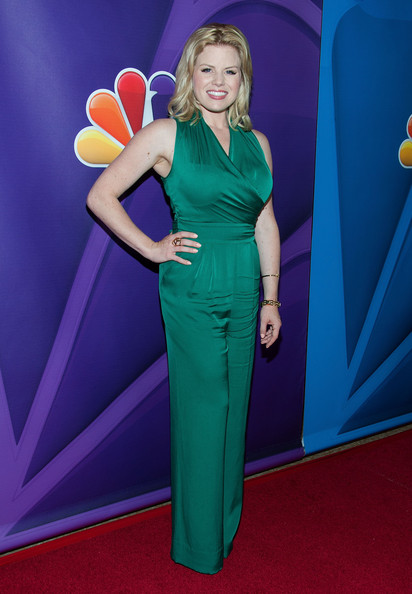 Megan had us green with envy when she wore this V-neck emerald jumpsuit.
