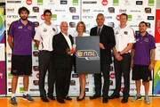 Julian Khazzouh, Oscar Forman, Allan Turner, Kristina Keneally, Larry Sengstock,  Dave Gruber and Luke Martin pose during a NBL media launch at Alexandria Basketball Stadium on February 21, 2012 in Sydney, Australia. The NBL unveiled the league wide Community program and details of its support of Zaidee's Rainbow Foundation during the NBL?s upcoming Community Round.