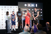 Majok Majok of the New Zealand Breakers; Damian Martin of the Perth Wildcats; Andrew Bogut of the Sydney Kings; David Barlow of Melbourne United; Adam Doyle of the Adelaide 36ers and MC Neroli Meadows speak on stage during a NBL Media Opportunity on June 27, 2018 in Melbourne, Australia.  The National Basketball Association (NBA) and the National Basketball League (NBL) today announced that for the second consecutive year, NBL teams will travel to the U.S. to participate in the NBA preseason. Five NBL teams, including the Adelaide 36ers, Melbourne United, New Zealand Breakers, Perth Wildcats and Sydney Kings, will play a total of seven games against NBA teams in the 2018 NBA preseason, including the Denver Nuggets, LA Clippers, Philadelphia 76ers, Phoenix Suns, Toronto Raptors and Utah Jazz, from Sept. 28 Ð Oct. 5.