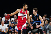 Demitrius Conger of the Hawks competes against Tom Abercrombie of the Breakers during the round 17 NBL match between the New Zealand Breakers and the Illawarra Hawks at Spark Arena on February 4, 2018 in Auckland, New Zealand.