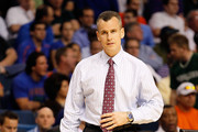 Head coach Billy Donovan of the Florida Gators coaches against the UC Santa Barbara Gauchos during the second round of the 2011 NCAA men's basketball tournament at St. Pete Times Forum on March 17, 2011 in Tampa, Florida. Florida won 79-51.