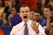 Head coach Billy Donovan of the Florida Gators calls out from the bench in the first house while taking on the Louisville Cardinals during the 2012 NCAA Men's Basketball West Regional Final at US Airways Center on March 24, 2012 in Phoenix, Arizona.