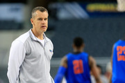 Head coach Billy Donovan of the Florida Gators on the court as the Gators practice ahead of the 2014 NCAA Men's Final Four at AT&T Stadium on April 4, 2014 in Arlington, Texas.