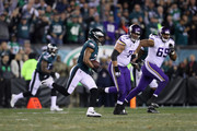 Patrick Robinson #21 of the Philadelphia Eagles returns an interception for a touchdown during the first quarter against the Minnesota Vikings in the NFC Championship game at Lincoln Financial Field on January 21, 2018 in Philadelphia, Pennsylvania.