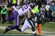 Torrey Smith #82 of the Philadelphia Eagles scores a third quarter touchdown past Harrison Smith #22 of the Minnesota Vikings in the NFC Championship game at Lincoln Financial Field on January 21, 2018 in Philadelphia, Pennsylvania.