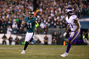Patrick Robinson #21 of the Philadelphia Eagles returns an interception for a touchdown during the first quarter past Jerick McKinnon #21 of the Minnesota Vikings in the NFC Championship game at Lincoln Financial Field on January 21, 2018 in Philadelphia, Pennsylvania.