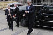 NFL owners Robert Kraft  (L) of the Patriots and Jerry Richardson (R) of the Carolina Panthers arrive for a court ordered mediation at the U.S. Courthouse on April 15, 2011 in Minneapolis, Minnesota. Mediation was ordered after a hearing on an antitrust lawsuit filed by NFL players against the NFL owners when labor talks between the two broke down last month.