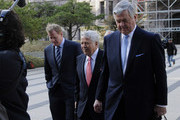 (L to R) NFL Commissioner Roger Goodell with NFL owners Robert Kraft of the New England  Patriots and Jerry Richardson of the Carolina Panthers arrive for court ordered mediation at the U.S. Courthouse on April 14, 2011 in Minneapolis, Minnesota. Mediation was ordered after a hearing on an antitrust lawsuit filed by NFL players against the NFL owners when labor talks between the two broke down last month.