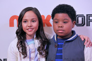 Actors Breanna Yde (L) and  Benjamin Flores Jr. attend NICKSPORTS special screening and party for Little Ballers Documentary at Chelsea Piers on February 14, 2015 in New York City.