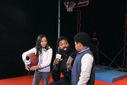 (L-R) Breanna Yde; NBA athlete Baron Davis, and Benjamin Flores Jr.  attend NICKSPORTS special screening and party for Little Ballers Documentary at Chelsea Piers on February 14, 2015 in New York City.