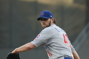 John Lackey #41 of the Chicago Cubs delivers a pitch against the Los Angeles Dodgers in the first inning of game four of the National League Championship Series at Dodger Stadium on October 19, 2016 in Los Angeles, California.