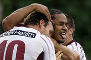 Steve Matai of the Sea Eagles celebrates with Josh Perry and Kieran Foran after scoring during the round four NRL match between the New Zealand Warriors and the Manly Sea Eagles at Mt Smart Stadium on April 4, 2010 in Auckland, New Zealand.