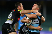 Chad Townsend of the Sharks is tackled during the NRL Semi Final match between the Cronulla Sharks and the Penrith Panthers at Allianz Stadium on September 14, 2018 in Sydney, Australia.