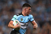 Chad Townsend of the Sharks makes a break during the NRL Semi Final match between the Cronulla Sharks and the Penrith Panthers at Allianz Stadium on September 14, 2018 in Sydney, Australia.