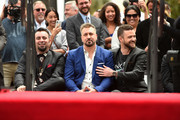 Singers Chris Kirkpatrick, Joey Fatone and Justin Tunberlake attend a ceremony where 'NSYNC was honored with a star on the Hollywood Walk of Fame on April 30, 2018 in Hollywood, California.