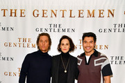 """(L-R) Matthew McConaughey, Michelle Dockery, and Henry Golding attend the NY Photo Call for """"The Gentlemen"""" at The Whitby Hotel on January 11, 2020 in New York City."""