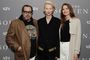 """(L-R) Julian Schnabel, Tilda Swinton and Louise Kugelberg attend the NY Special Screening of """"The Souvenir"""" on May 08, 2019 in New York City."""